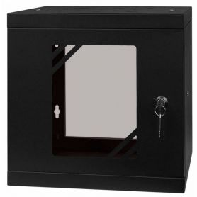 "Rack Cabinet 10"" 6U, 300MM Glass Door, Black"