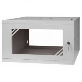 "Rack Cabinet 19"" 6U, 450MM Glass Door, Grey"