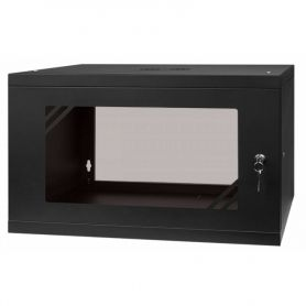 "Rack Cabinet 19"" 6U, 450MM Glass Door, Black"