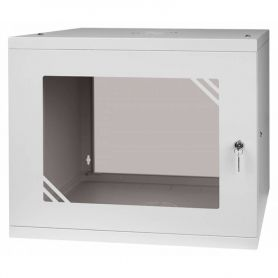 "Rack Cabinet 19"" 9U, 450MM Glass Door, Grey"