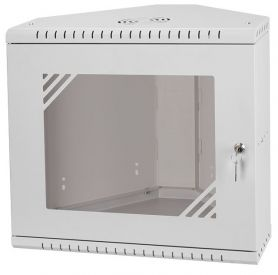 "Rack Cabinet Corner 19"" 9U 330mm, Glass Door, Grey"