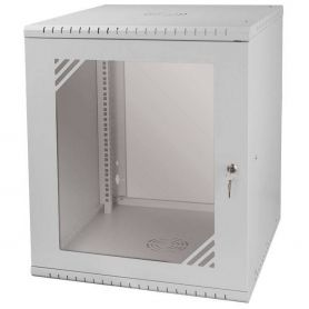 "Rack Cabinet 19"" 12U, 600MM Glass Door, Gray"